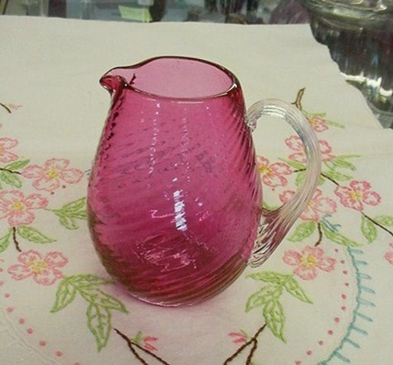 Cranberry Glass Creamer Pitcher by Pilgrim
