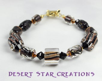 Black and Gold Cane Glass Bracelet
