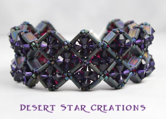 Purple Fuchsia Hand Stitched Diamonds Bracelet Swarovski Crystal and Seed Beads