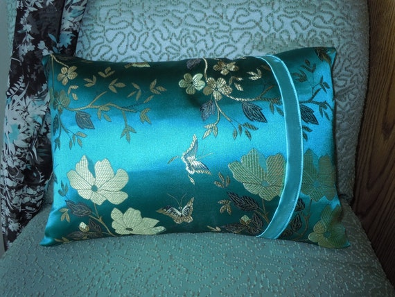 Teal and Gold Butterfly Brocade Lil' Baby Pillow