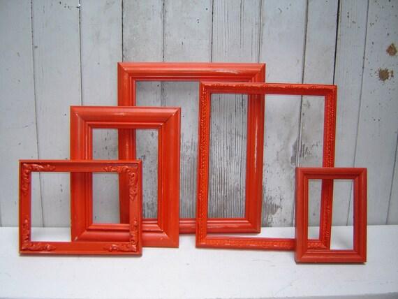 Painted frame set collection  -  Tangerine Tango Dark Orange 5 painted frames