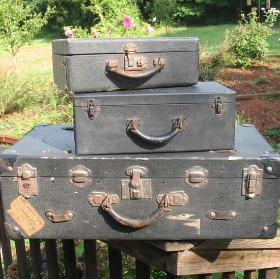 Vintage Black Shabby Chic Luggage- 1920s Black Suitcase