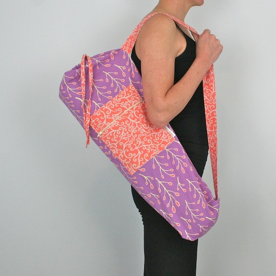 FREE SHIPPING- Yoga Mat Bag in Purple and Peach with a Zipper Pocket
