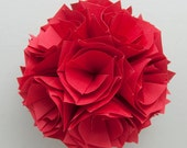 Red Flower Ball, red pomander, paper floral pomander