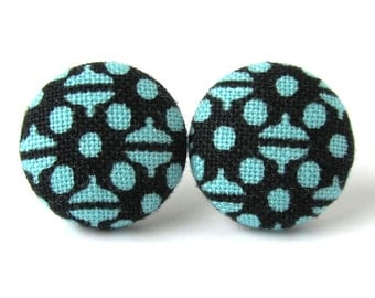 Funky stud earrings - blue fabric button earrings - light dark blue post earrings jewelry