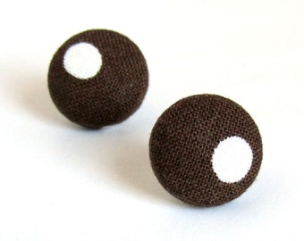 Brown button studs - tiny fabric earrings - white dot stud earrings fall autumn vintage style tiny