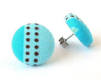 Turquoise stud earrings - blue fabric earrings - blue button earrings - mint cyan winter stripes brown dots