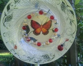 Blooms Forever Vintage Glass Flower Plate Butterflies and Lady Bugs