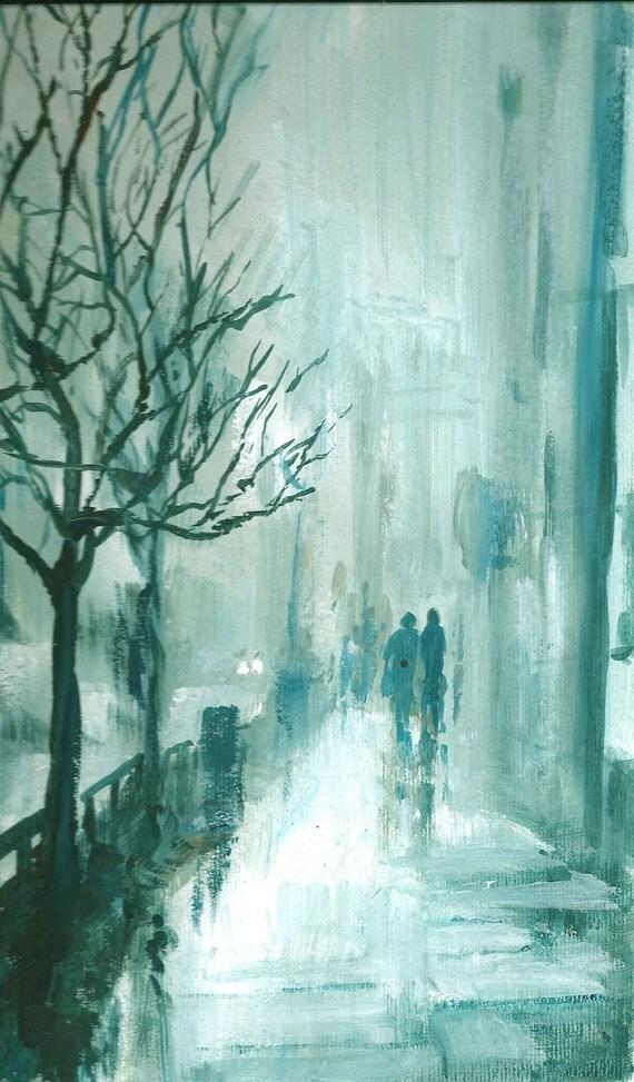City Rain 1 - Original Watercolour and Acrylic Painting.