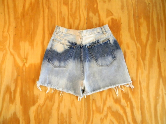 Vintage Denim Cut Offs - 90s Upcycled DISTRESSED Jean Shorts - High Waisted/Custom Bleached/Frayed/Cut Off - Size 7/8 - Designer Bill Blass