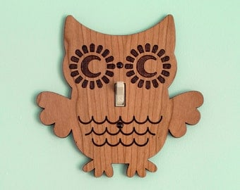 Wood Owl Switchplate Kids Nursery Wall Light Switch Plate Cover