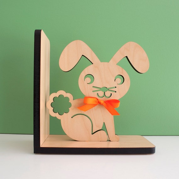 Bunny Wood Bookend- Modern Baby Nursery Children