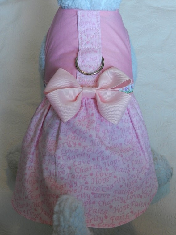 BCA Breast Cancer Pink Hope & Faith Harness Dress with Bow. Perfect Item for your Cat, Dog or Ferret. All Items Are Custom Made.