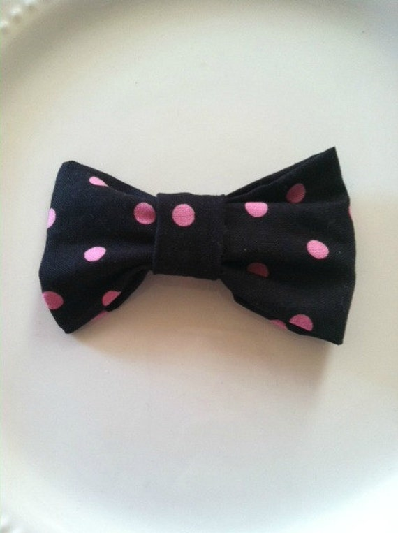 Bowtiful Hair Clip (black w/ pink polka dots)