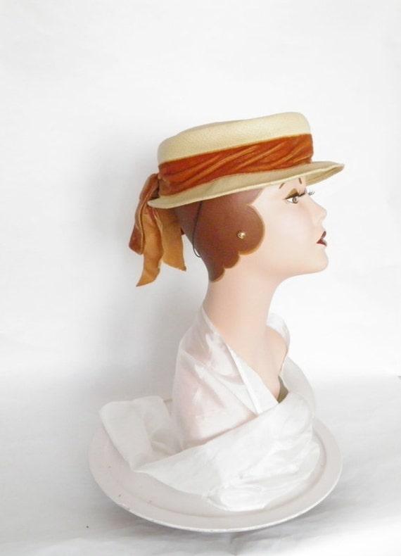 1940s boater tilt hat, straw tilt