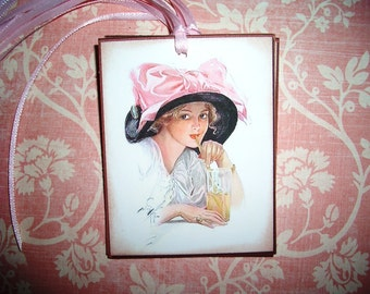 Beautiful Vintage Lady Tags -  Thinking of You - Missing You -  Victorian Hat - Wish Tree Tags - Set of Six