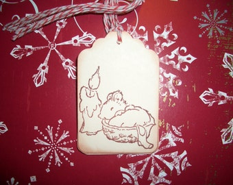 Christmas Gift Tags - Night before Christmas - Little Mouse and Stocking - Set of Six - Hand Made