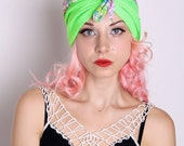 Fluorescent green trim summer floral turban