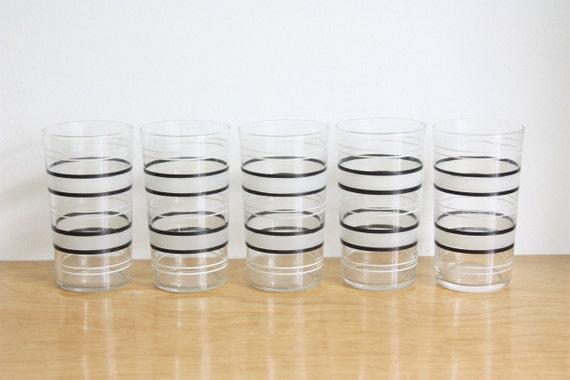 Set of 5 Vintage Striped Glasses