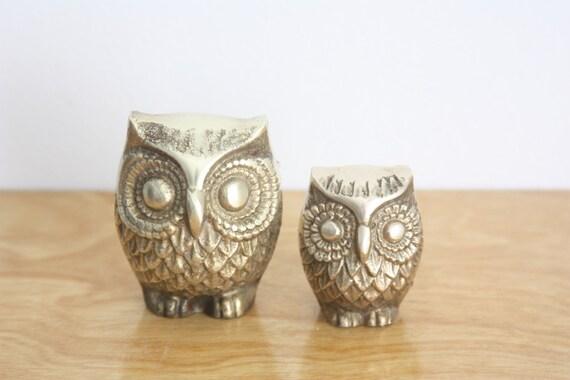 Vintage Pair of Brass Owls
