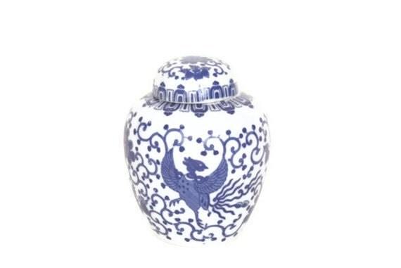 Vintage Blue and White Porcelain Ginger Jar with Lid