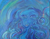 Original Painting Lady of the Water, Blue Green Textured acrylic art