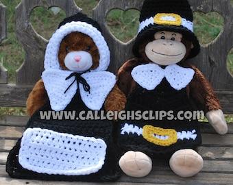 Instant Download Crochet Pattern No. 78 - Pilgrim boy and girl cape set