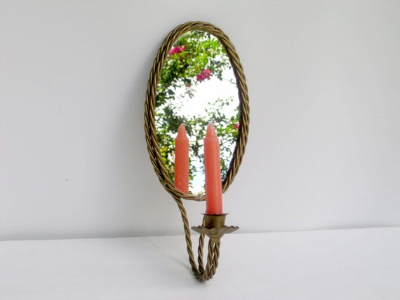 Vintage Mirror Candle Holder Wall Sconce
