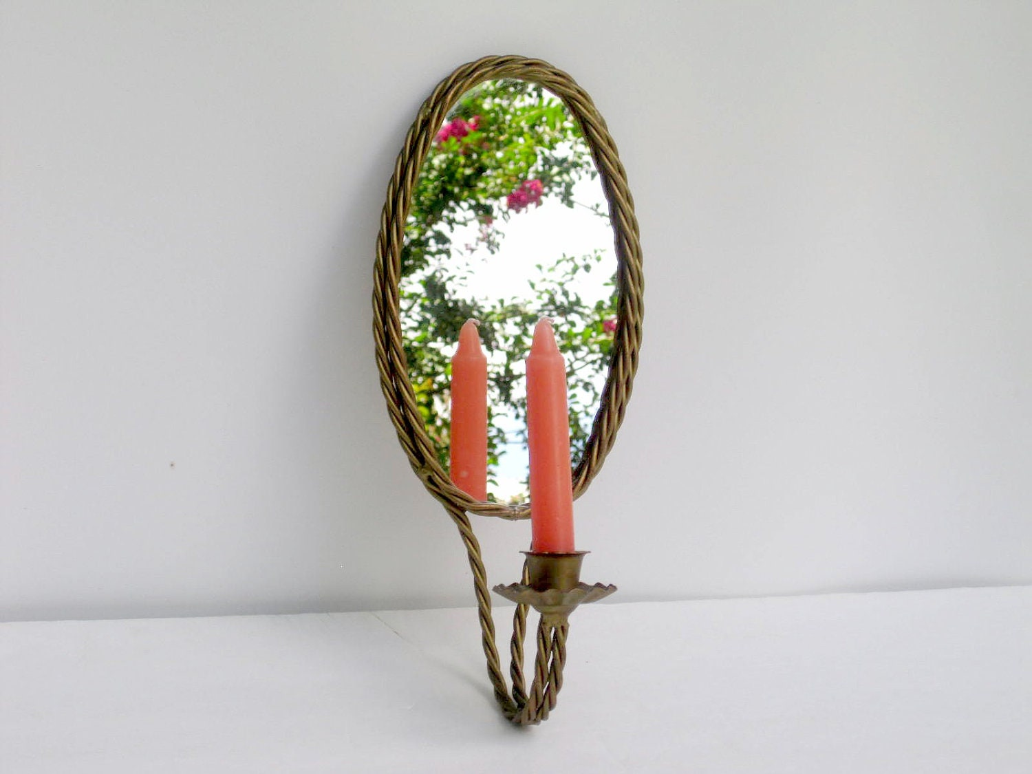 Mirrored Wall Sconces Candle Holder : Vintage Mirror Candle Holder Wall Sconce
