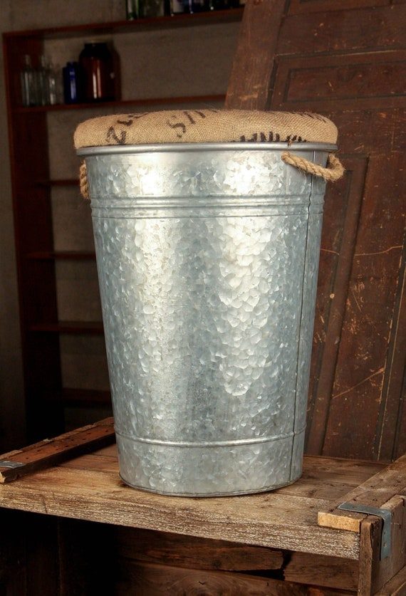Large Galvanized Bucket Adapted to Storage Stool -- Country Living
