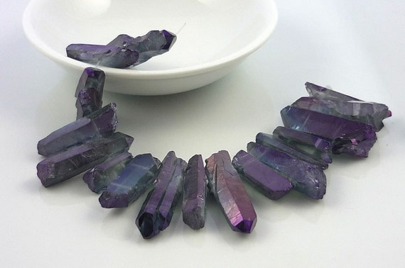 Mystic aura purple quartz pointer briolettes/nugget beads 19-34mm 1/4 strand