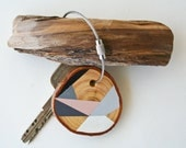 Wood keychain with steel cable wire with option of initial, grey, pale pink, white geometric triangle keyring