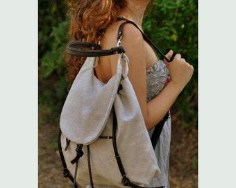 Backpack, shoulder bag, messenger bag, in light grey canvas with leather details,named Daphne MADE TO ORDER