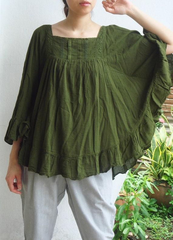 B8, Dark Green Butterfly Effect Cotton Blouse, green blouse
