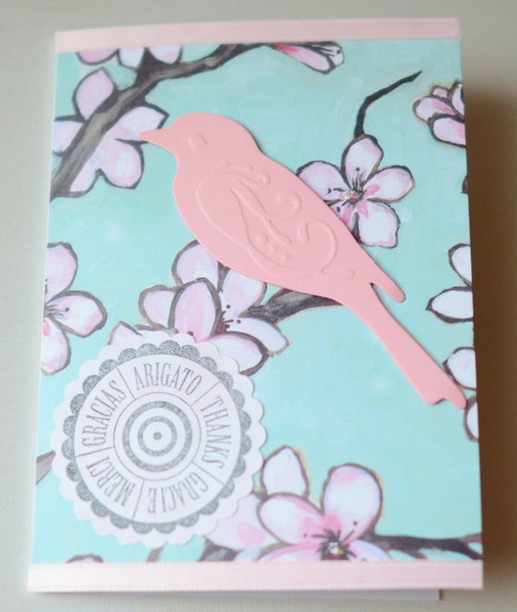 Thank You Card Bird on Branch Flowers on Tree Pink Blue White