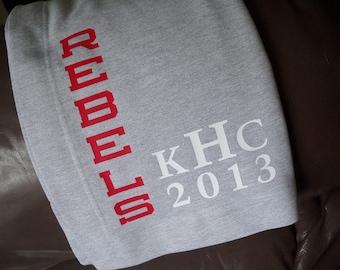 SALE for 15% off!  PERSONALIZED Blanket - Sweatshirt Fleece College / High School / Back To School