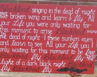 BEATLES Blackbird Lyrics SIGN Subway Distressed Cajun Red Handmade Hand-painted Wooden Custom 30x42 Whagn