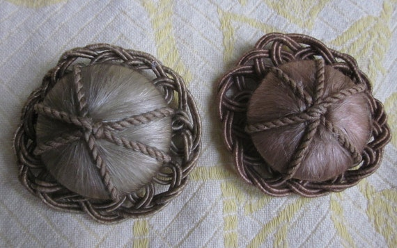 2 Large Fancy Matching Satin Wrapped Fabric Coat Buttons