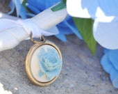Something Blue Cameo Bouquet Charm - Ivory and Blue - Shabby Chic Wedding