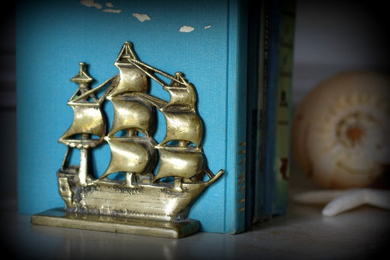 Vintage Solid Brass Clipper Ship  Bookends