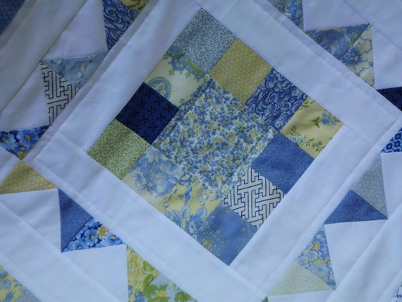 Blue and yellow squares table topper