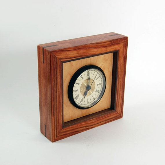 SALE - Handcrafted Bubinga, Figured Maple, and Rosewood Desk/Mantel Clock
