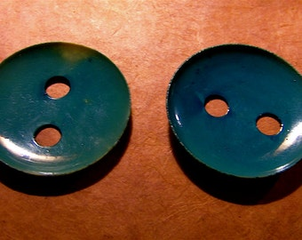 Rare 1930's Two Large Teal Blue Concave Celluloid Buttons
