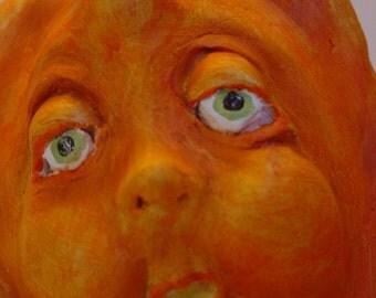 Sam - A Folk Art,  Pumpkin Sculpture