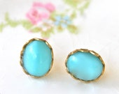 Aqua Blue Oval Scalloped Brass Gold Scalloped Bridal Vintage Moonstone Post Earrings - Upcycled,Bridal,Wedding