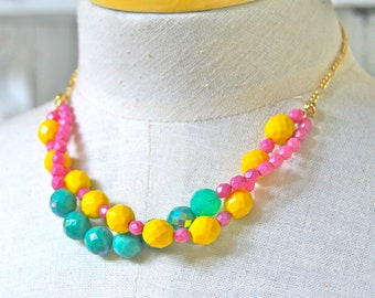 Yellow Jade Green Turquoise Opal Hot Pink Czech Glass Bead Twist Double Strand Statement Necklace- Bridesmaids, Wedding, One of a kind