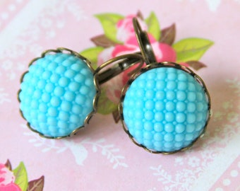 Aqua Blue Glass Hobnail Earrings - Round Hobnail Bumpy Quilted Scalloped Antique Brass Lever Back Drop Dangle Earring - Bridal,Beach, Preppy