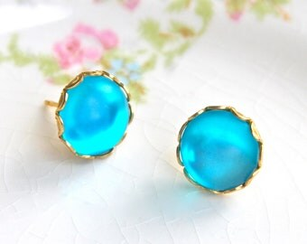 Vintage Aqua Blue Round Scalloped Brass Gold Rhinestone Post Earrings - Bridesmaids