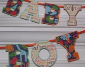 Baby Boy Safari Banner ... Jungle Letter Banner ... Orange Blue Green ... READY TO SHIP ... adjustable ... custom options available