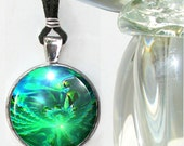 Green Necklace Heart Chakra Jewelry Reiki Pendant Abstract Energy Art